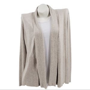 89th & Madison Open Front Oatmeal Knit Cardigan